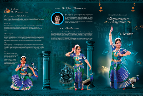 Peacock Brochure Design Template for an arangetram in USA